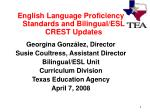 English Language Proficiency Standards and Bilingual/ESL CREST Updates Georgina González, Director