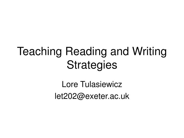 teaching reading and writing strategies n.