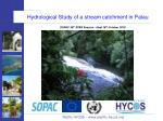 Hydrological Study of a stream catchment in Palau