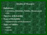 Definitions Correlation, Reliability, Validity, Measurement error Theories of Reliability