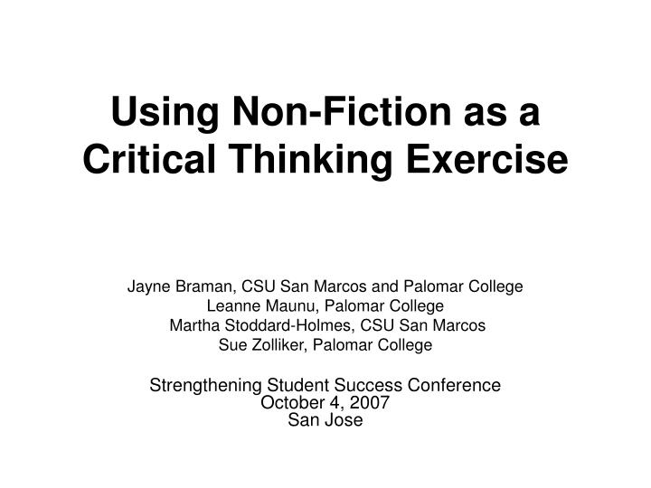 using non fiction as a critical thinking exercise n.