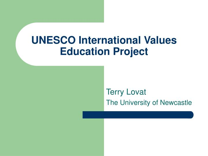 unesco international values education project n.