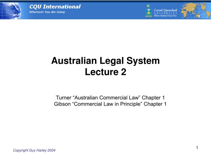 australian legal system lecture 2 n.