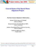 General Status of the Barrel Muon Alignment Project