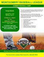 Montgomery Baseball League Summer Camp July 9-12, 2012