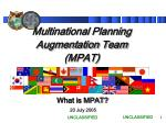 Multinational Planning Augmentation Team (MPAT)