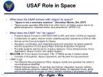 USAF Role in Space