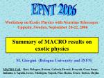 Summary of MACRO results on exotic physics