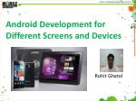 Android Development for Different Screens and Devices