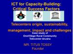 ICT for Capacity-Building: Critical Success Factors