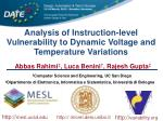 Analysis of Instruction-level Vulnerability to Dynamic Voltage and Temperature Variations
