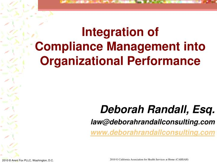 integration of compliance management into organizational performance n.