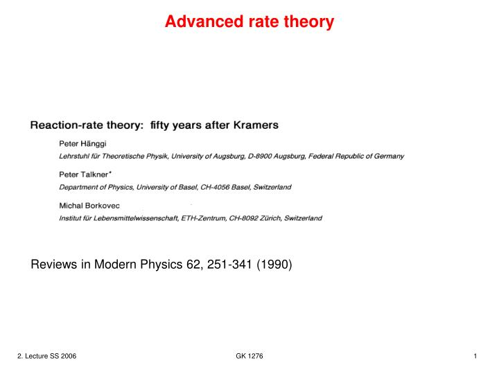 advanced rate theory n.