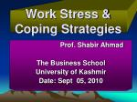 Work Stress & Coping Strategies
