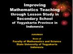 SUKIRMAN Dean of Faculty of Mathematics and Science State University of Yogyakarta Indonesia