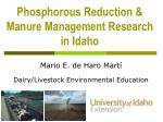 Phosphorous Reduction & Manure Management Research in Idaho
