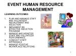 EVENT HUMAN RESOURCE 			MANAGEMENT
