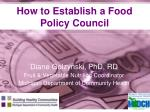 How to Establish a Food Policy Council