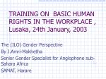 TRAINING ON  BASIC HUMAN RIGHTS IN THE WORKPLACE , Lusaka, 24th January, 2003