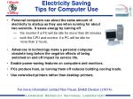 Electricity Saving  Tips for Computer Use