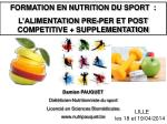 FORMATION EN NUTRITION DU SPORT : L'ALIMENTATION PRE-PER ET POST COMPETITIVE + SUPPLEMENTATION