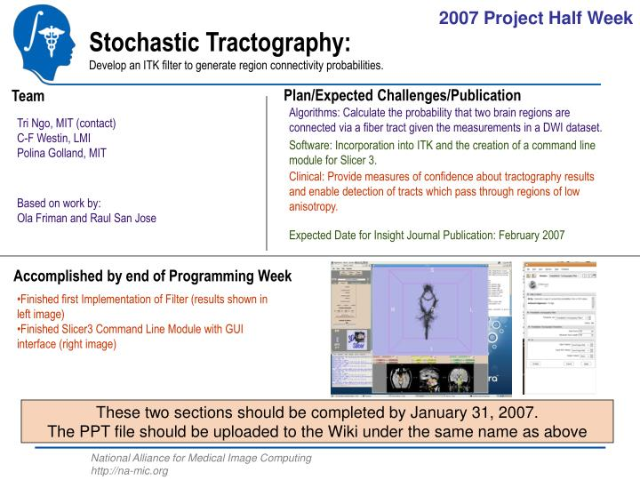 PPT - Stochastic Tractography: Develop an ITK filter to generate