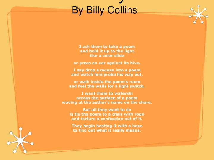introduction to poetry by billy collins n.