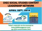 CKEC Social Studies Content Leadership Network