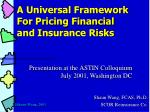 A Universal Framework  For Pricing Financial  and Insurance Risks