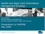 Health and Aged Care Information Management Strategy