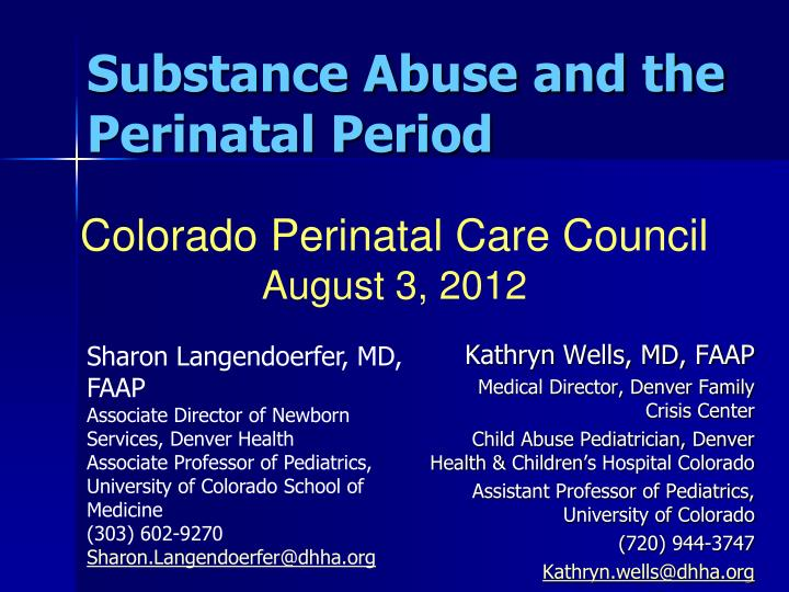 substance abuse and the perinatal period n.