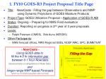 1. FY10 GOES-R3 Project Proposal Title Page