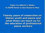 Paper by Alberto L'Abate  to ECPR Panel in San Rossore-Pisa