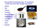 Unscramble the following Cap. 10 vocabulary words and write their English equivalents.