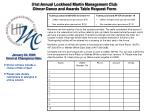 51st Annual Lockheed Martin Management Club Dinner Dance and Awards Table Request Form