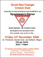 Orrell Red Triangle Cricket Club would like to invite all Umpires from the MCUA to our