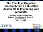 The Effects of Cognitive Disequilibrium on Question Asking While Interacting with AutoTutor