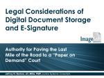 Legal Considerations of Digital Document Storage and E-Signature