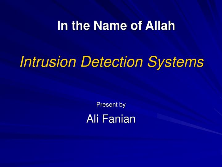 intrusion detection systems n.