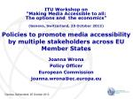 Policies to promote media accessibility by multiple stakeholders across EU Member States
