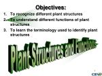 Objectives: To recognize different plant structures