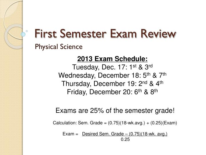 first semester exam review n.