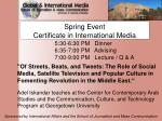Spring Event Certificate in International Media