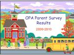 OPA Parent Survey Results