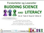 BUDDING SCIENCE   AND LITERACY