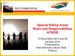 Special Rating Areas Roles and Responsibilities ATHCID