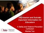 Depression and Suicide: Important Information for Educators