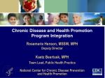 Chronic Disease and Health Promotion Program Integration