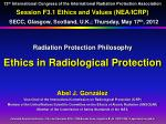 Radiation Protection Philosophy Ethics in Radiological Protection