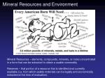 Mineral Resources and Environment